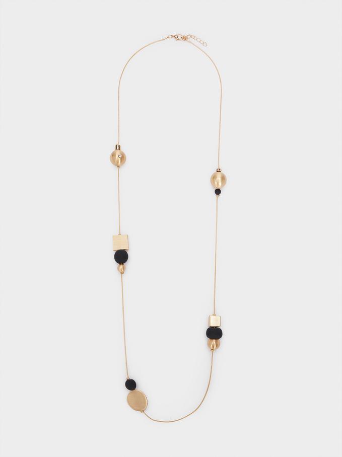 Collier Long Avec Perles Fantaisie, Noir, hi-res