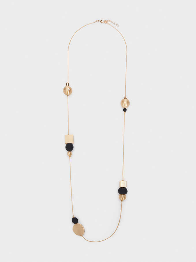Long Necklace With Bead Detail, Black, hi-res