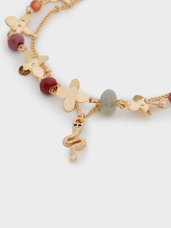 Bracelet With Beads And Snake, Golden, hi-res