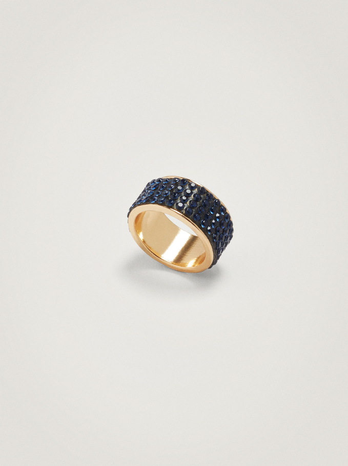 Wide Ring With Crystals, Blue, hi-res