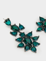 Long Rhinestone Earrings, Green, hi-res