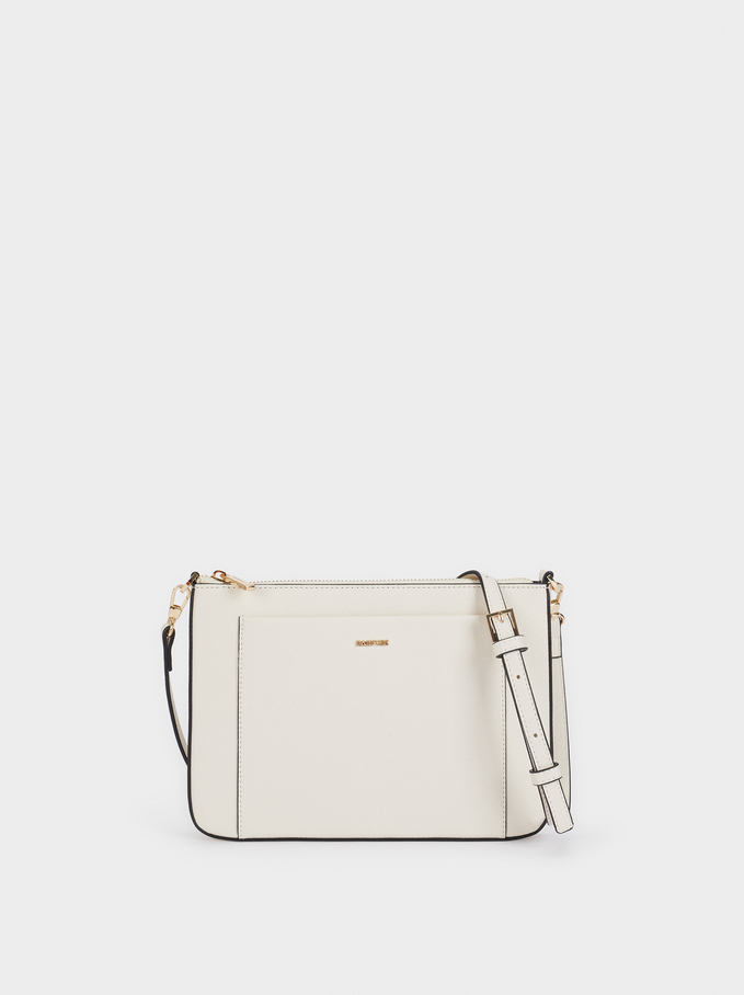 Crossbody Bag With Outer Pocket, Ecru, hi-res