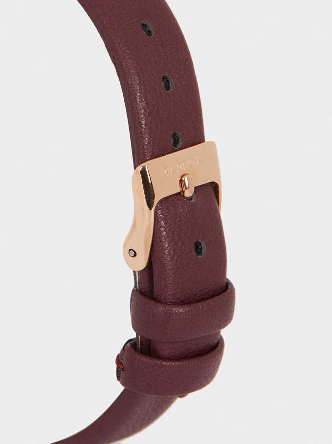 Watch With Textured Leather Wristband, Bordeaux, hi-res