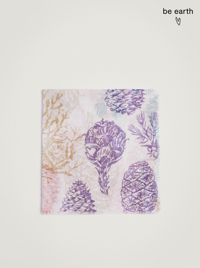 Printed Scarf Made From Recycled Materials, Multicolor, hi-res