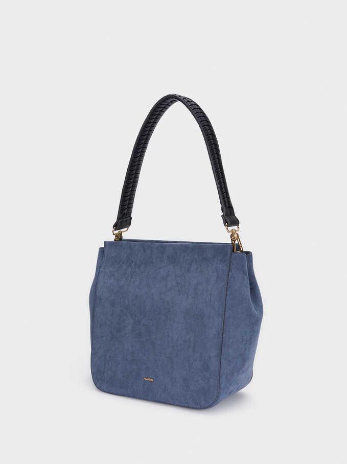Bolso De Hombro Textura Ante Asa Bandolera Extraíble, Azul, hi-res