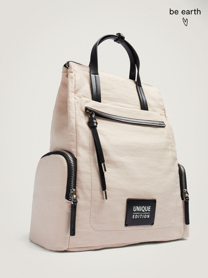 Nylon Backpack Made From Recycled Materials, Ecru, hi-res