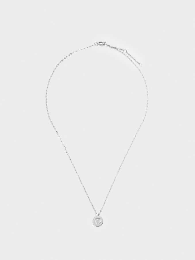 Stainless Steel Short Necklace With Heart Charm, Silver, hi-res