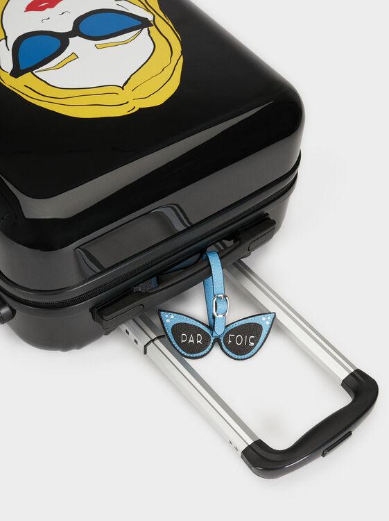 Girl Print Trolley Suitcase, Black, hi-res