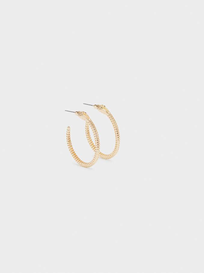 Gold Snake Hoop Earrings, Golden, hi-res