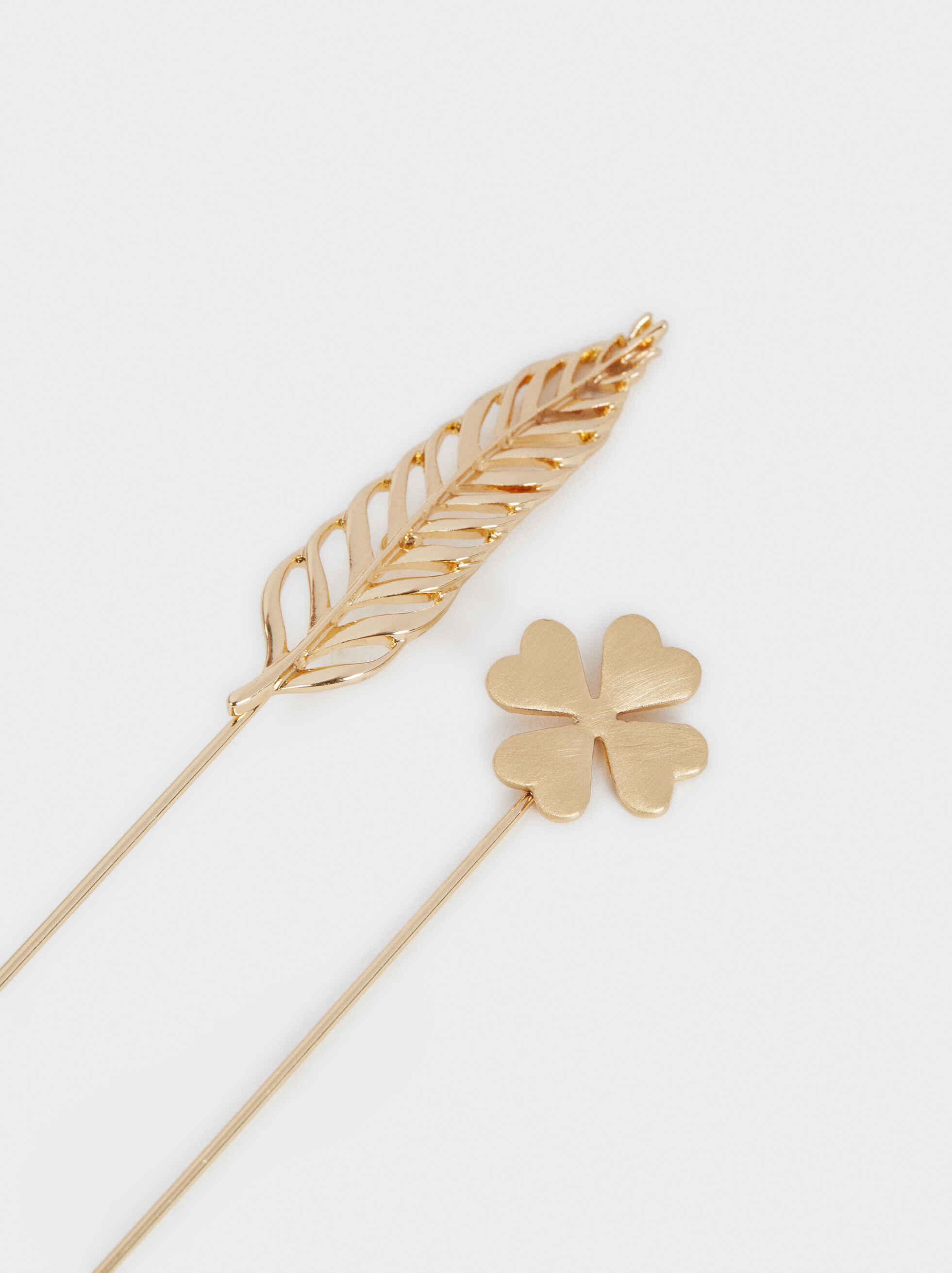 Set Of Leaf Brooches, Golden, hi-res
