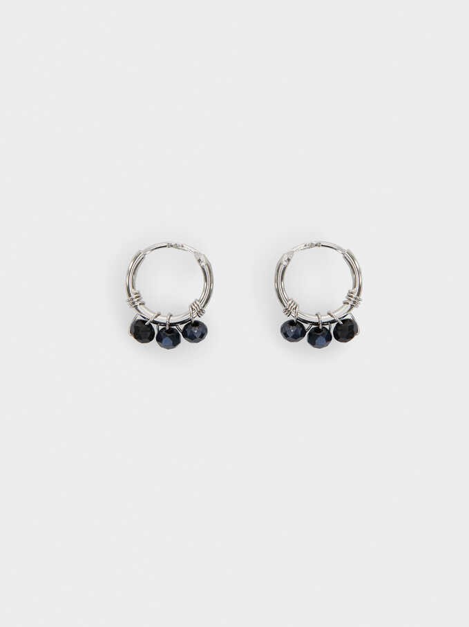 925 Silver Hoop Earrings With Beads, Blue, hi-res