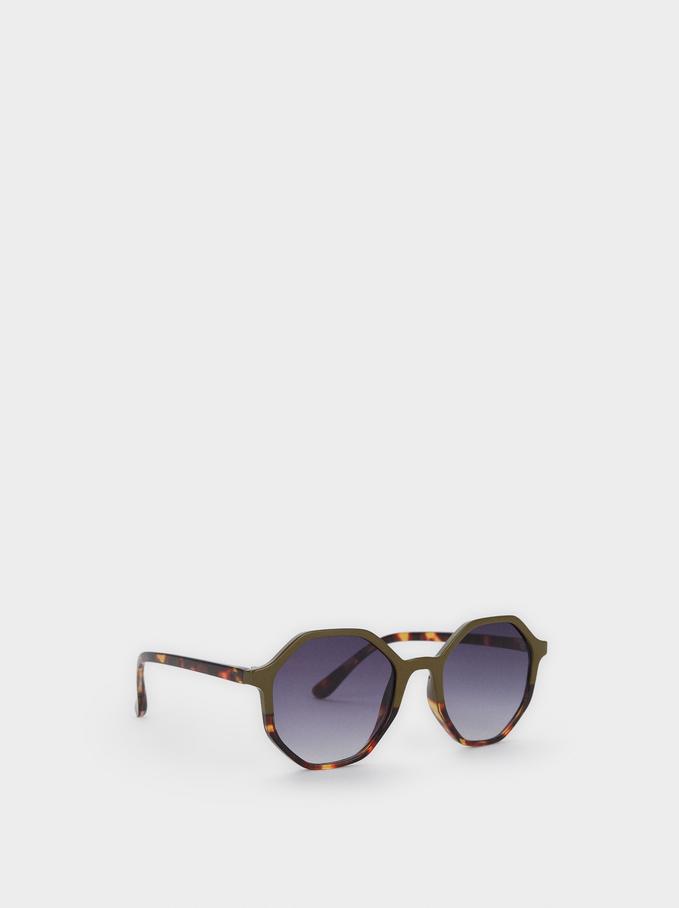 Tortoiseshell Sunglasses, Green, hi-res