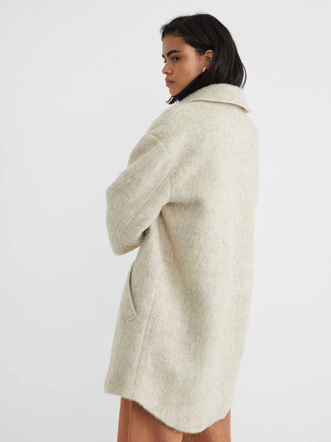 Coat With Button-Up Front, Beige, hi-res