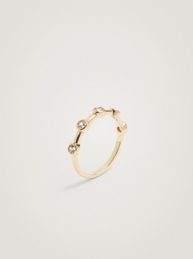 Ring With Zirconia, Golden, hi-res