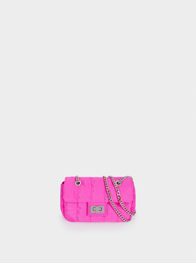 Quilted Nylon Crossbody Bag, Pink, hi-res