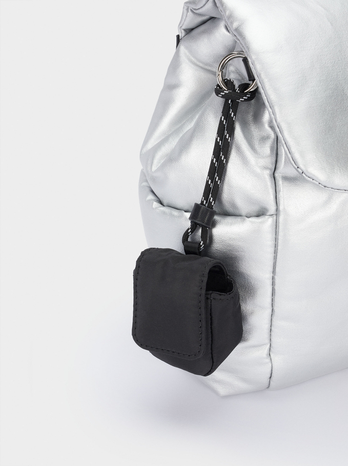 Quilted Nylon Backpack, Silver, hi-res