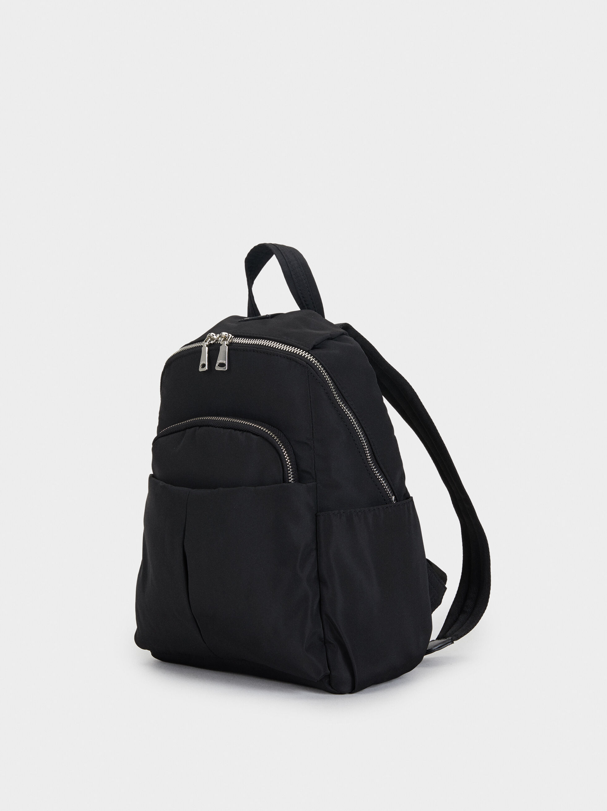 Nylon Backpack With Outer Pockets, Black, hi-res