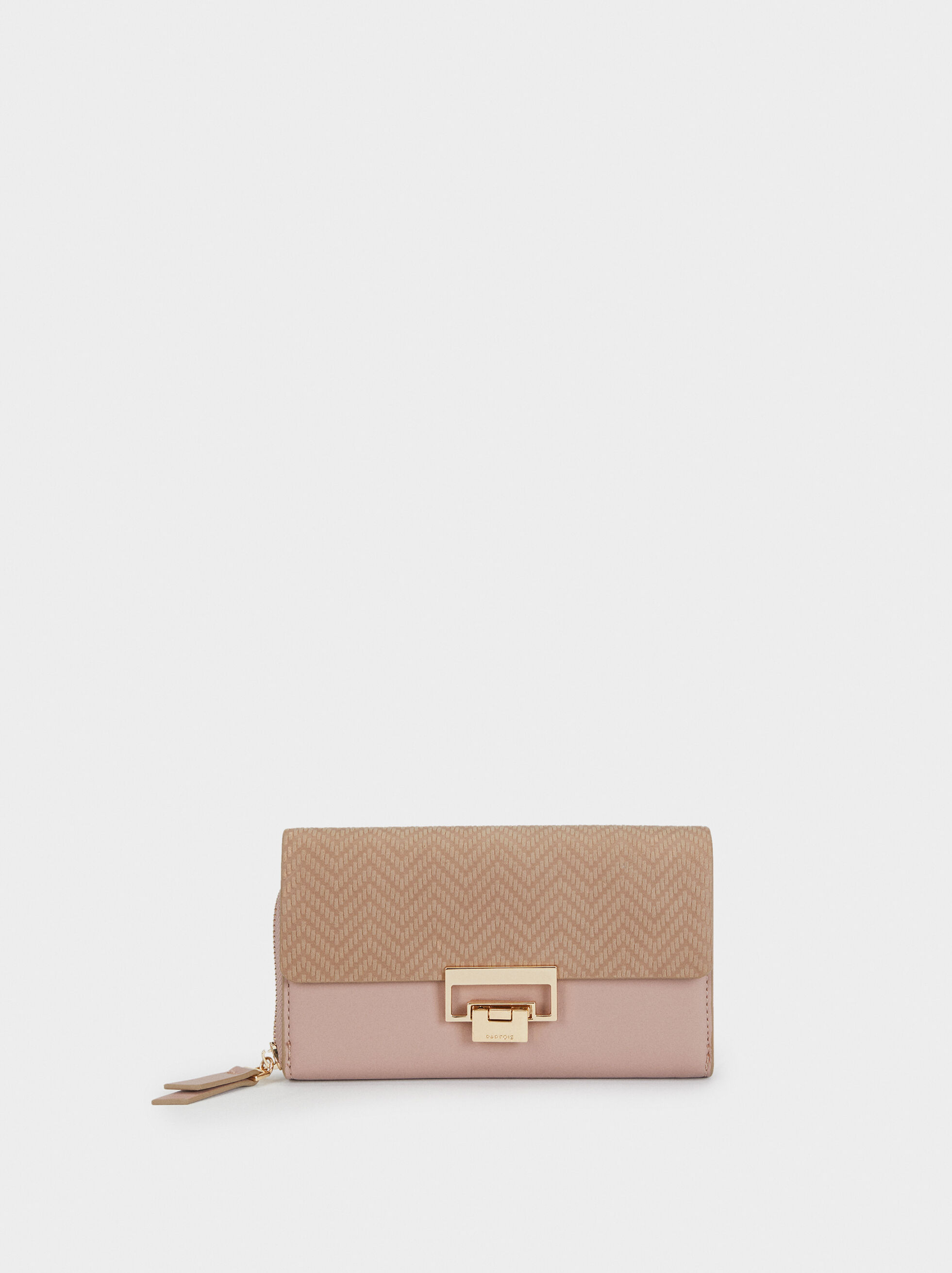 Large Purse With Embossed Flap, Pink, hi-res