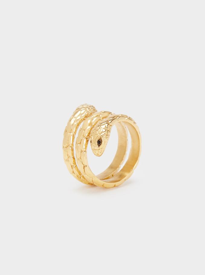 Pinky Finger Stainless Steel Snake Ring, Golden, hi-res