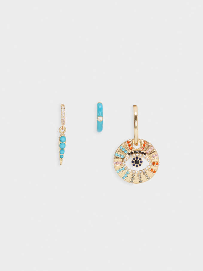 Medium Hoop Earrings With Eye And Crystals, Multicolor, hi-res