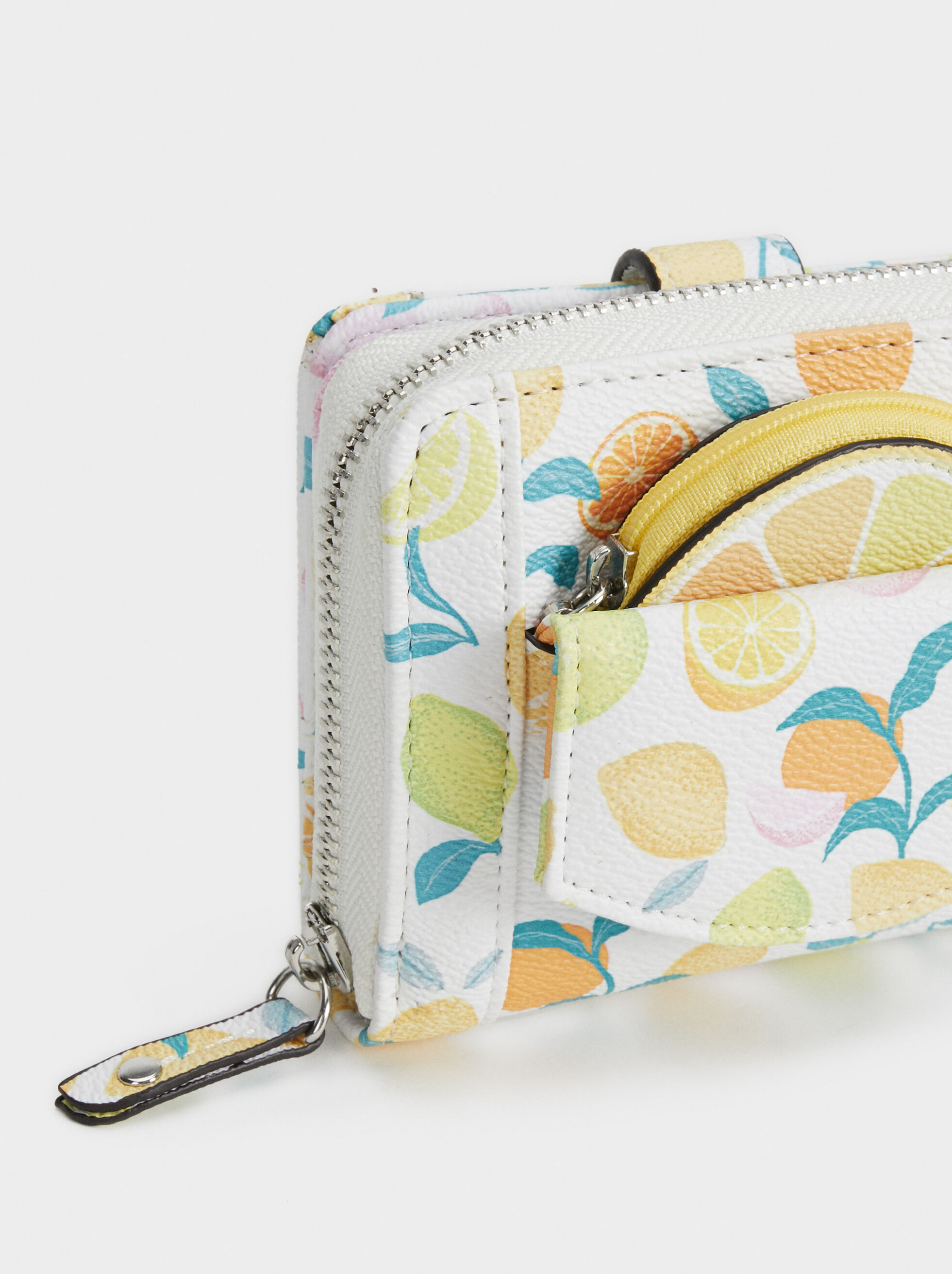 Fruit Print Purse, Yellow, hi-res