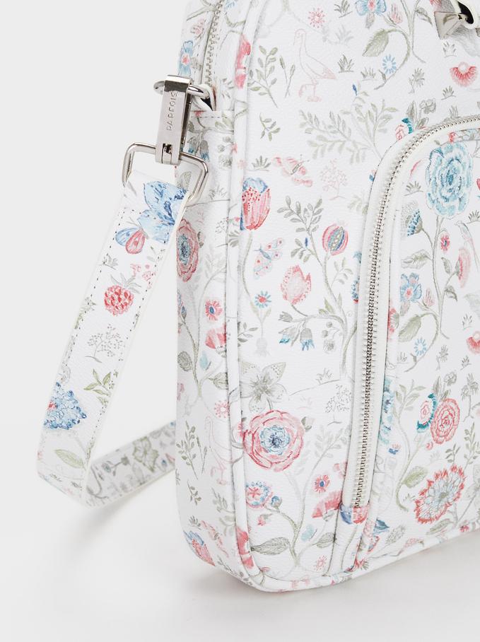 Floral Print Briefcase, Pink, hi-res