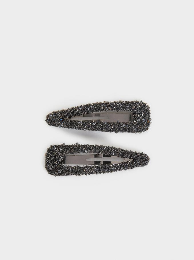 Set Of Bejewelled Hairclips, Black, hi-res