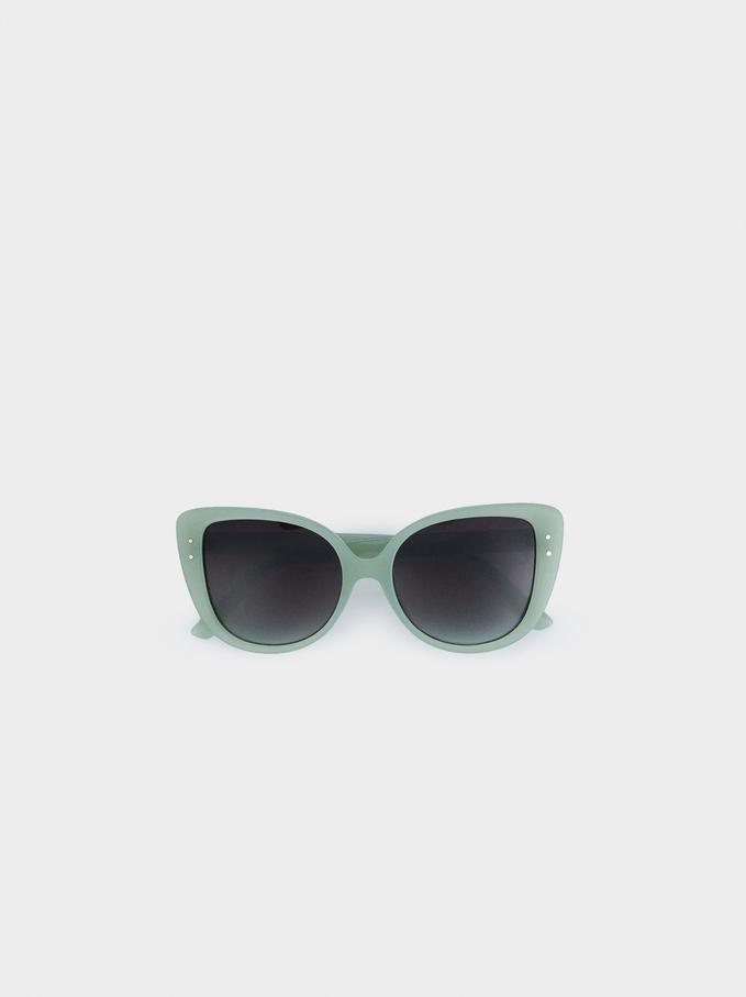 Okulary Z Okraglymi Oprawkami Z Tworzywa, Zielony, hi-res