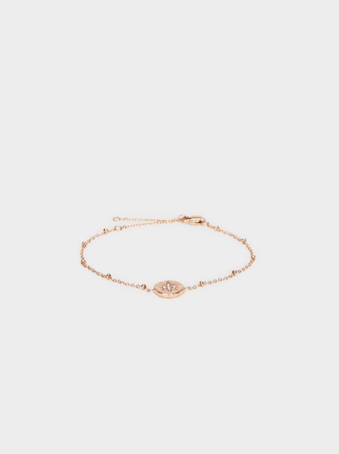 Steel Medallion Bracelet, Orange, hi-res