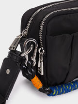 Nylon Crossbody Bag With Cord Handle Detail, Black, hi-res
