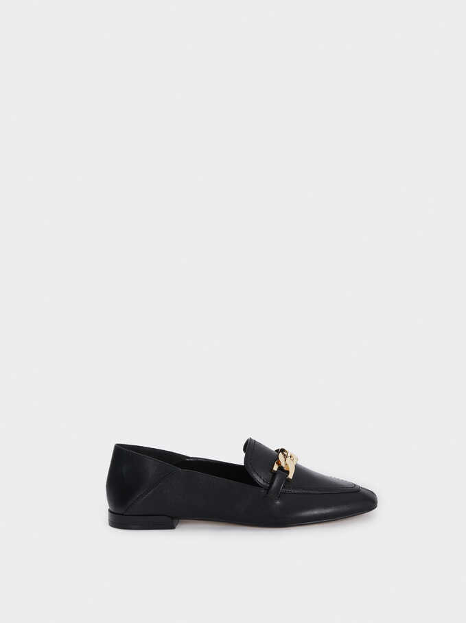 Loafers With Chain Detail, Black, hi-res