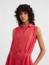 Linen Shirt Dress, Red, hi-res