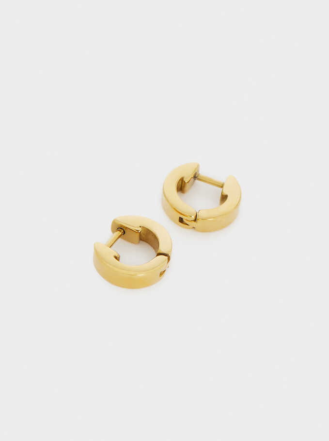 Stainless Steel Small Hoop Earrings, Golden, hi-res
