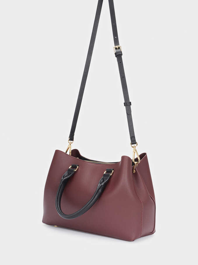 Tote Bag With Removable Strap, Bordeaux, hi-res