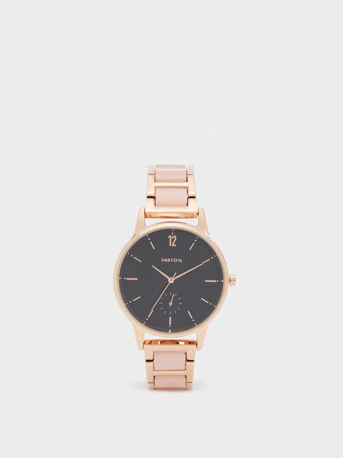 Reloj Correa Combinada, Rosa, hi-res