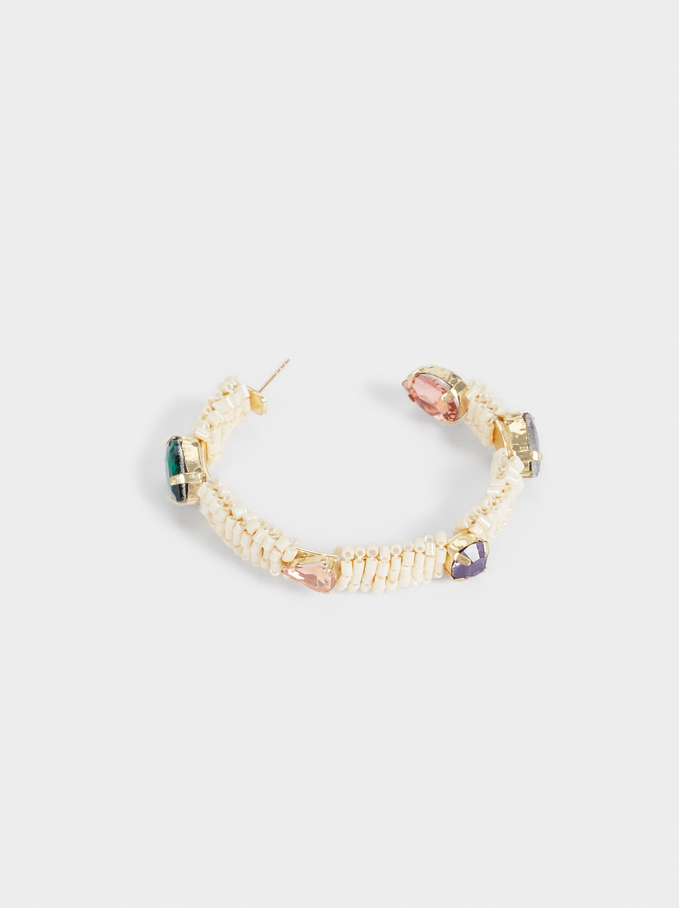 Large Hoop Earrings With Beads, Multicolor, hi-res
