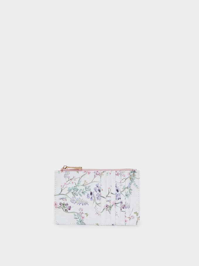 Floral Print Card Holder With Purse, Violet, hi-res