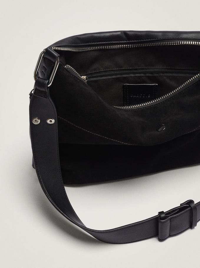Contrast Suede Shoulder Bag, Black, hi-res