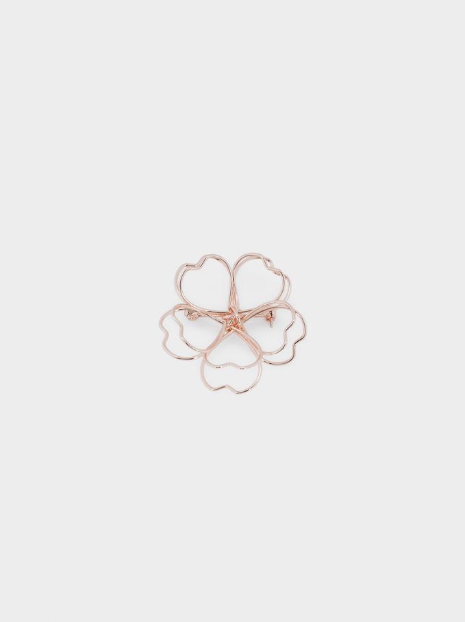 Flower Brooch, Orange, hi-res