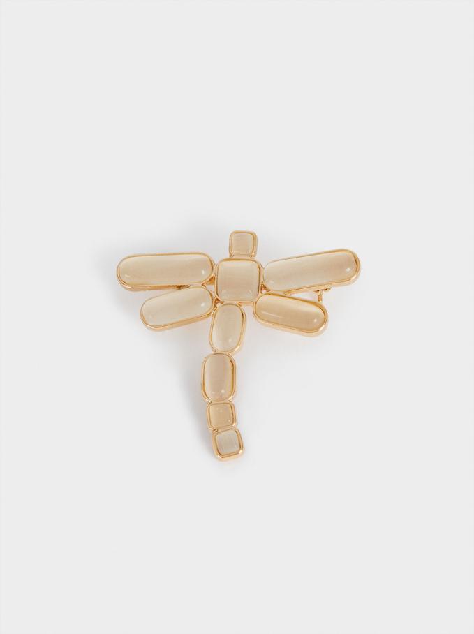 Dragonfly Brooch, Grey, hi-res
