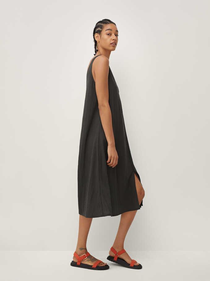 Plain V-Neck Dress, Green, hi-res