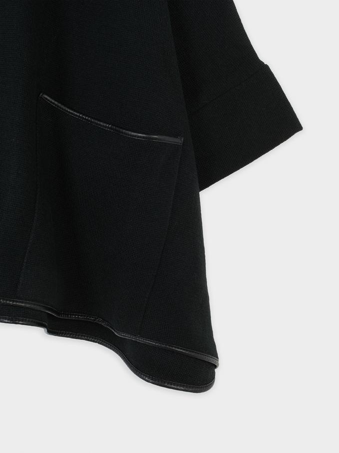 Poncho En Maille, Noir, hi-res