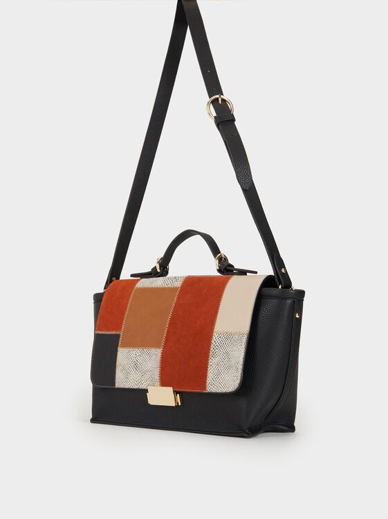 Large Bag With Patchwork Flap, Camel, hi-res