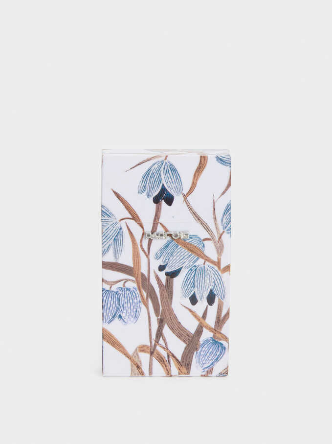 Floral Print Slim Cigarette Box, Blue, hi-res