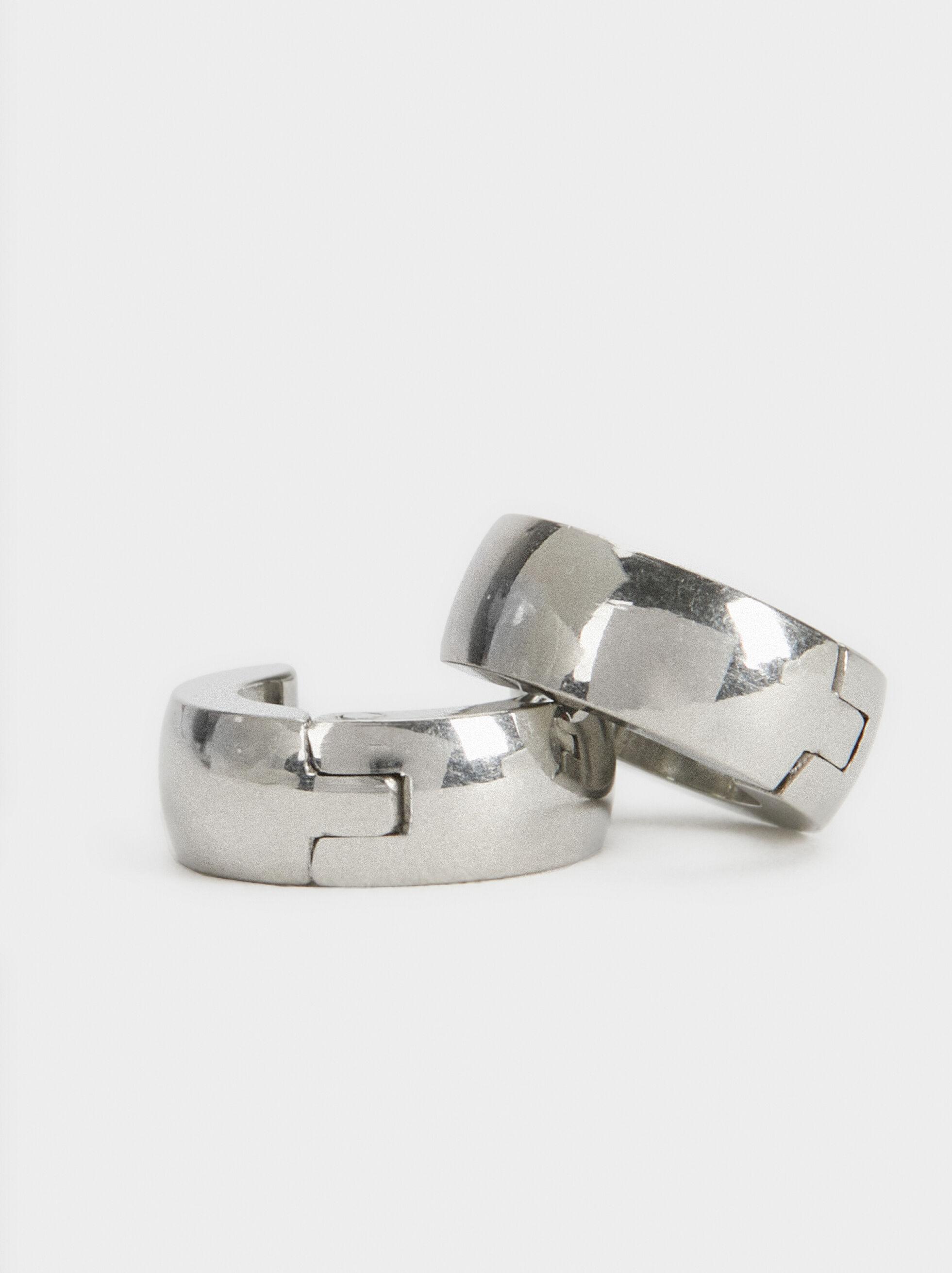 Stainless Steel Hoop-Earrings, Silver, hi-res