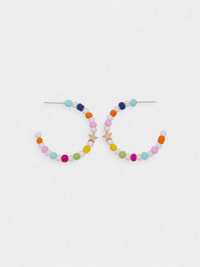 Beaded Hoop Earrings With Stars, Multicolor, hi-res