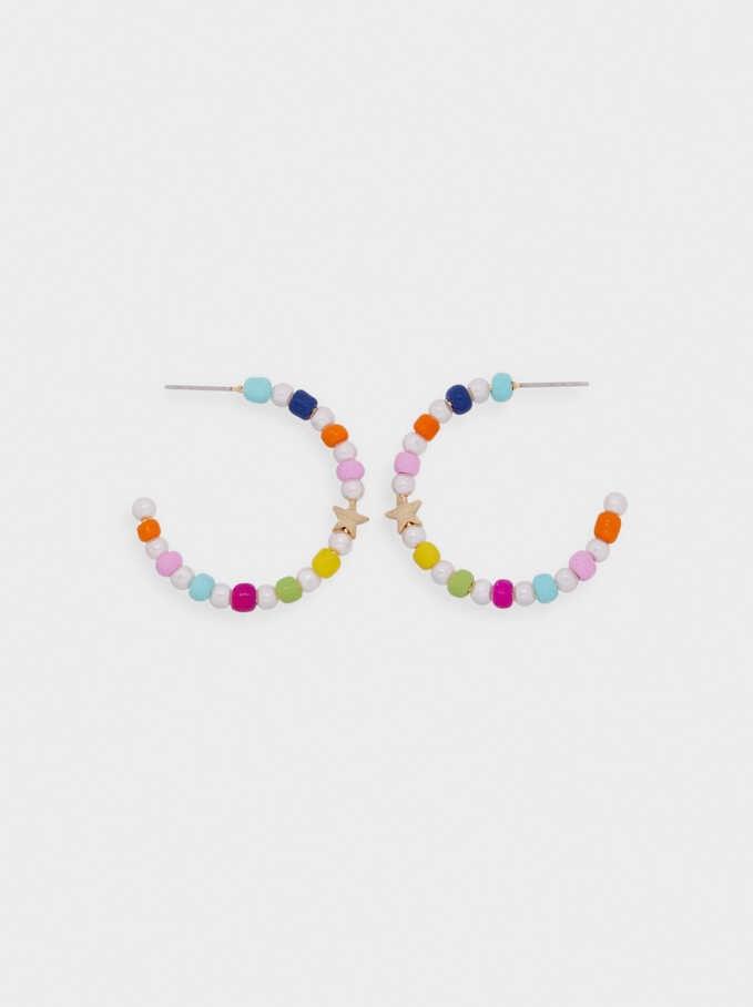 Beaded Hoop Earrings With Stars, Multicolor, hi-res