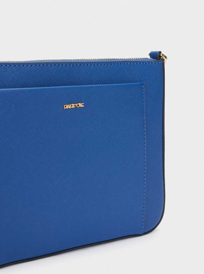 Crossbody Bag With Outer Pocket, Blue, hi-res