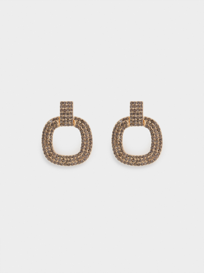Earrings With Crystals, Golden, hi-res
