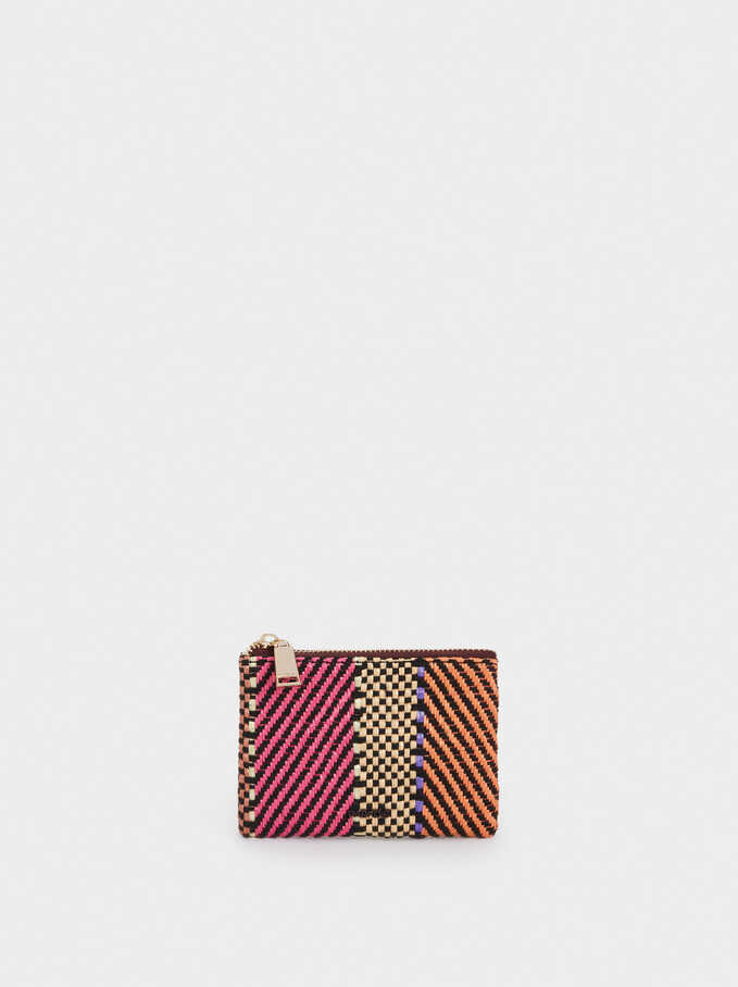 Multipurpose Purse With Embroidery, Pink, hi-res